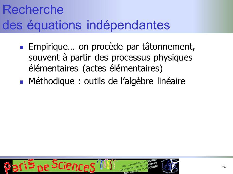 Recherche des équations indépendantes