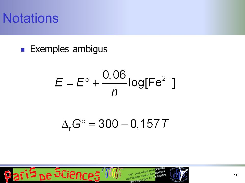 Notations Exemples ambigus