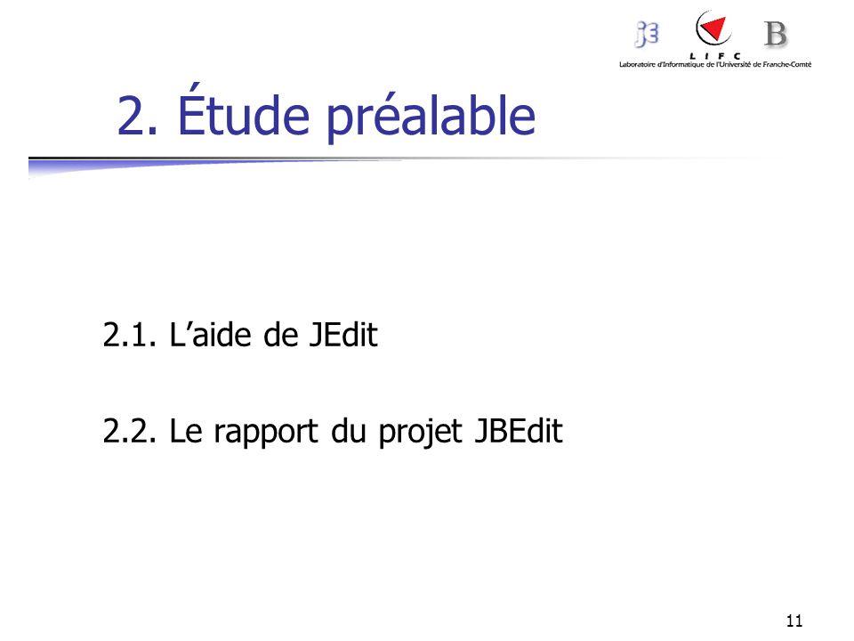 2. Étude préalable 2.1. L'aide de JEdit