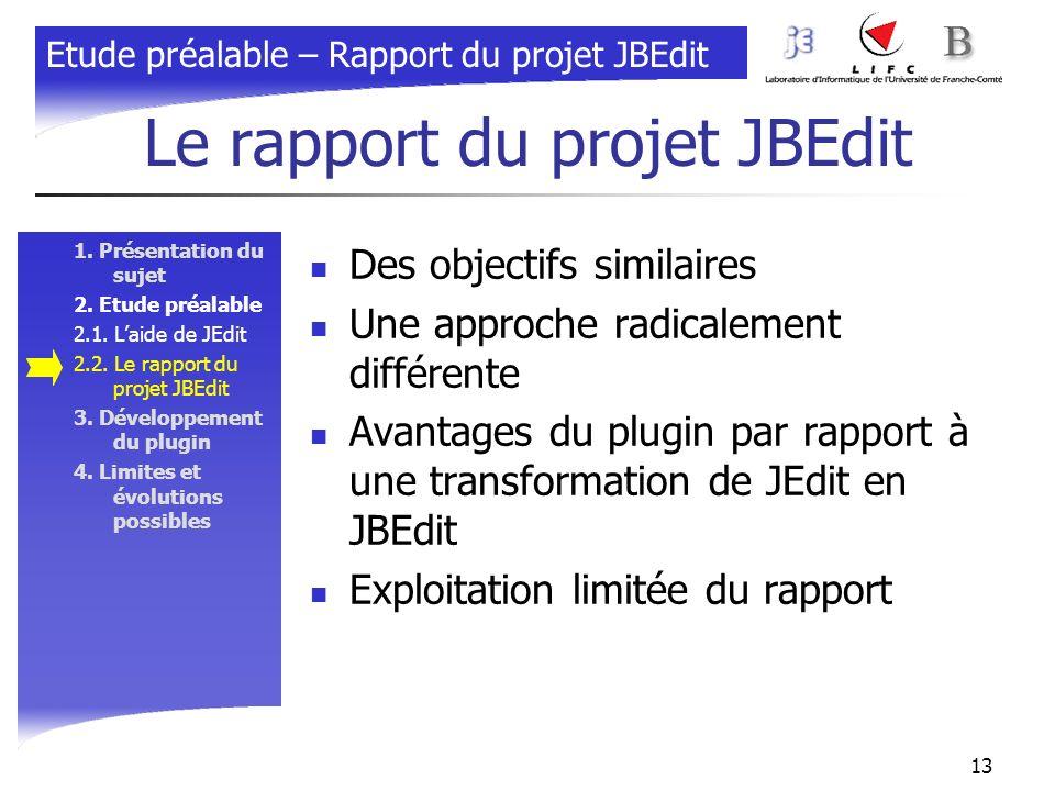 Le rapport du projet JBEdit