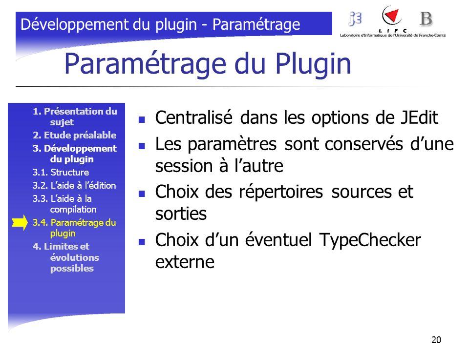 Paramétrage du Plugin Centralisé dans les options de JEdit