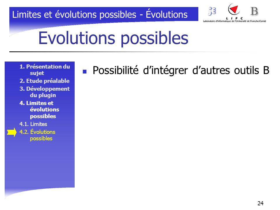 Evolutions possibles Possibilité d'intégrer d'autres outils B