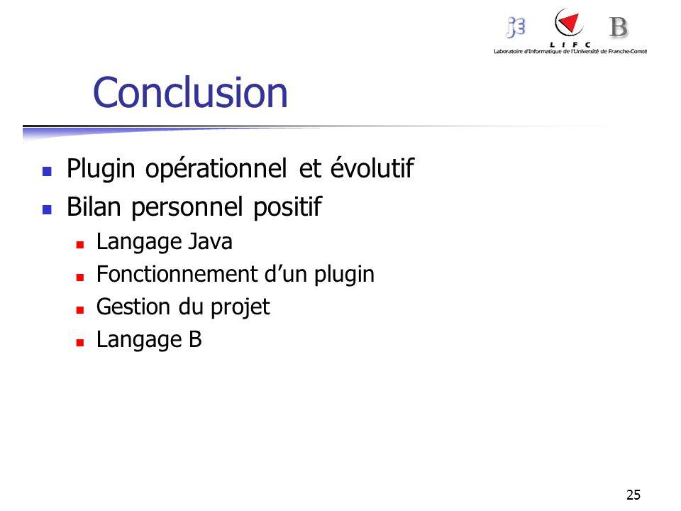 Conclusion Plugin opérationnel et évolutif Bilan personnel positif