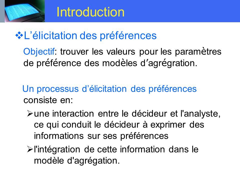 Introduction L'élicitation des préférences