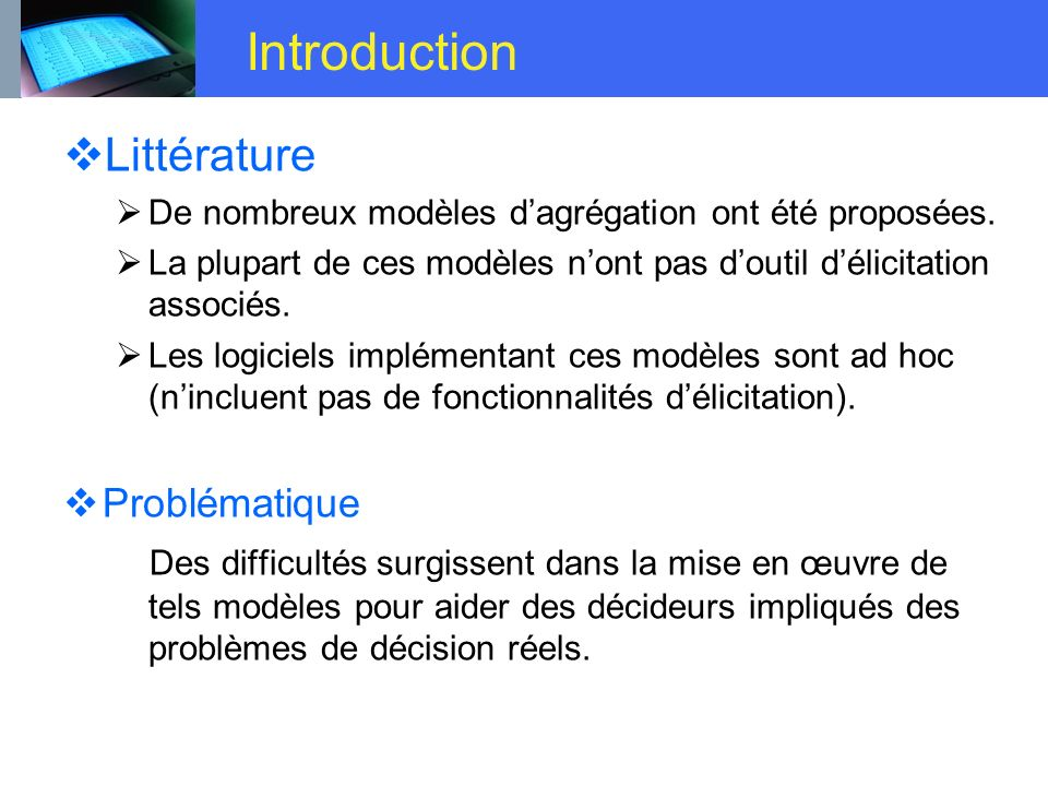 Introduction Littérature Problématique