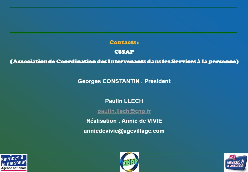 Georges CONSTANTIN , Président Réalisation : Annie de VIVIE