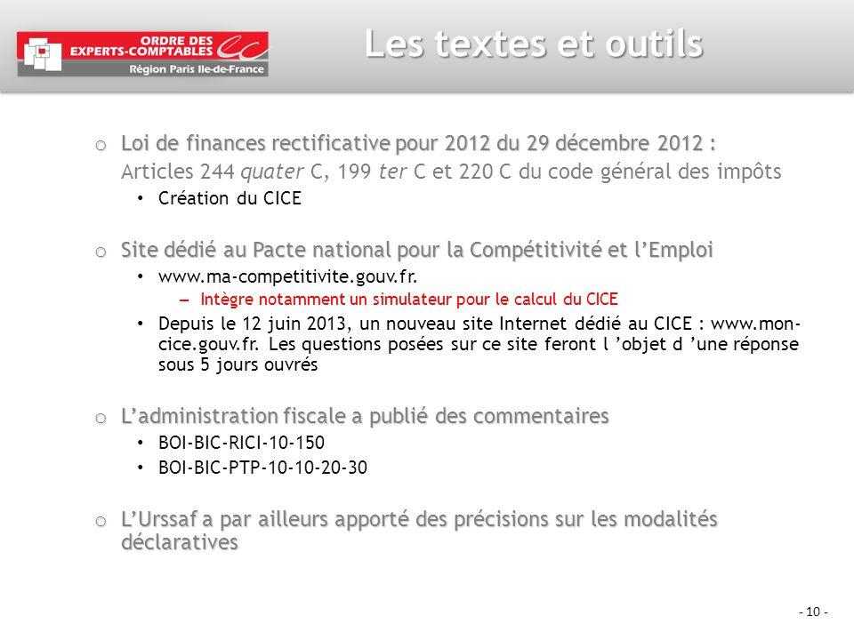 Les textes et outils Loi de finances rectificative pour 2012 du 29 décembre 2012 :