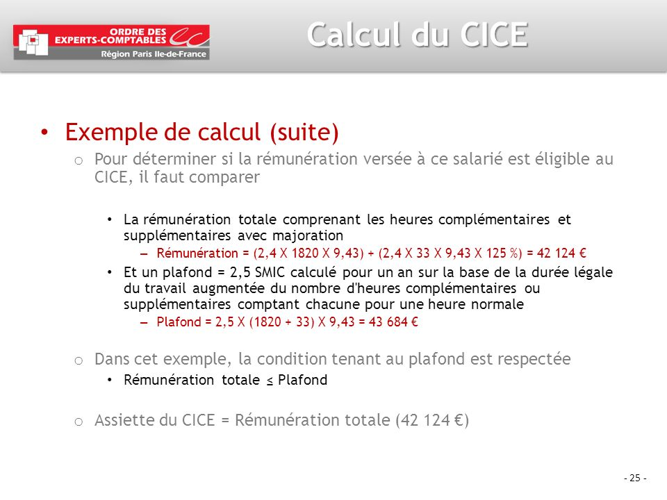 Calcul du CICE Exemple de calcul (suite)