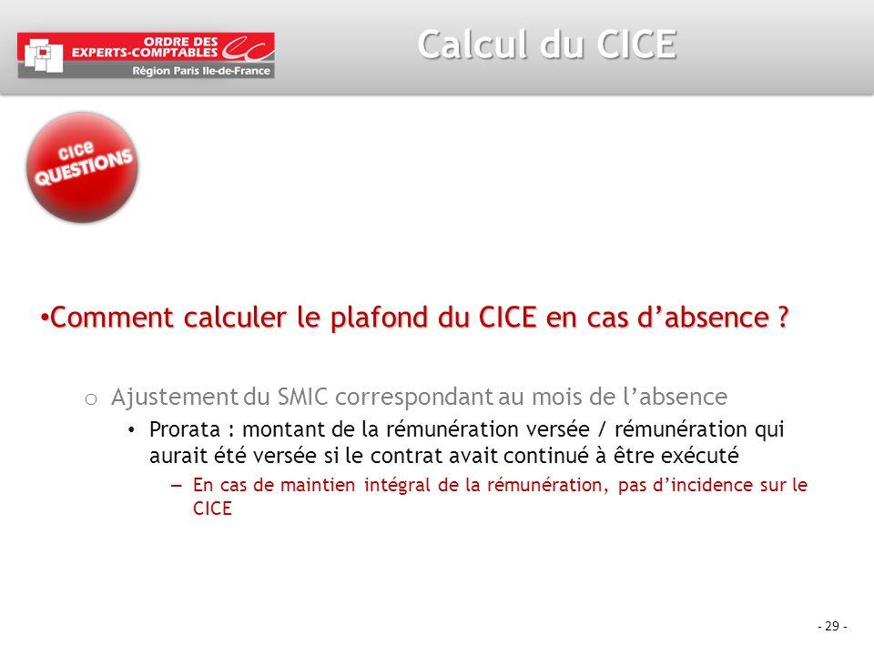 Calcul du CICE Comment calculer le plafond du CICE en cas d'absence