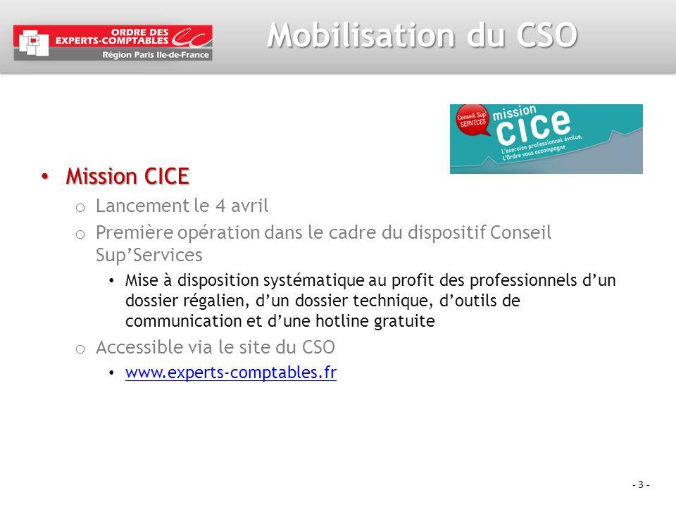 Mobilisation du CSO Mission CICE Lancement le 4 avril