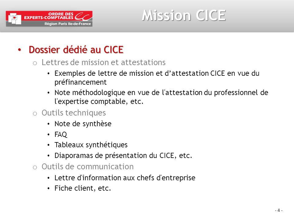 Mission CICE Dossier dédié au CICE Lettres de mission et attestations