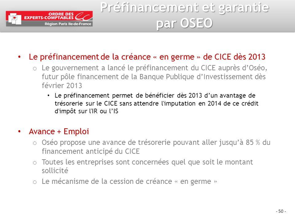 Préfinancement et garantie par OSEO