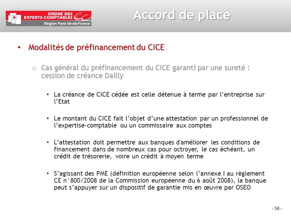 Accord de place Modalités de préfinancement du CICE