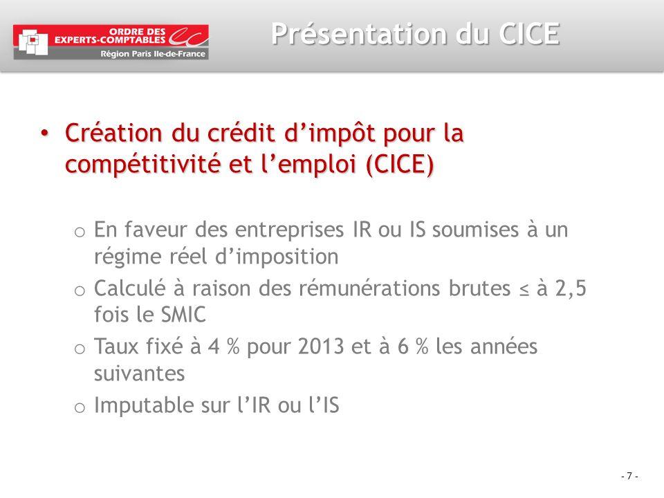 Présentation du CICE Création du crédit d'impôt pour la compétitivité et l'emploi (CICE)
