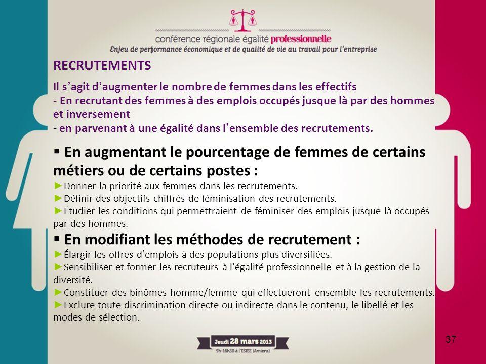 En modifiant les méthodes de recrutement :