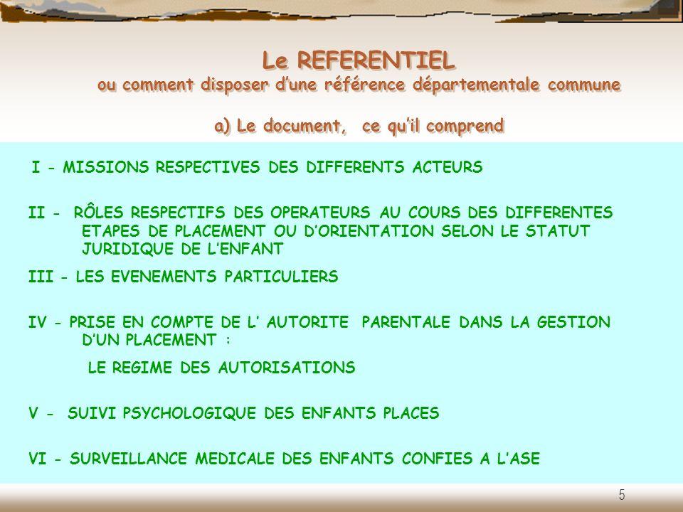 Le REFERENTIEL ou comment disposer d'une référence départementale commune a) Le document, ce qu'il comprend