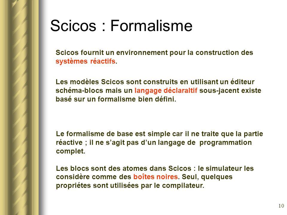Scicos : Formalisme Scicos fournit un environnement pour la construction des systèmes réactifs.