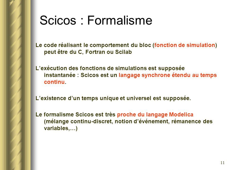 Scicos : Formalisme Le code réalisant le comportement du bloc (fonction de simulation) peut être du C, Fortran ou Scilab.
