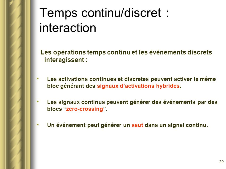 Temps continu/discret : interaction