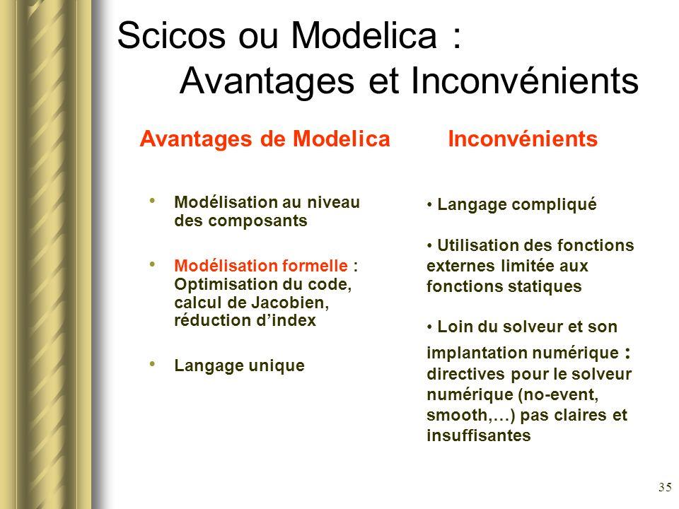 Scicos ou Modelica : Avantages et Inconvénients