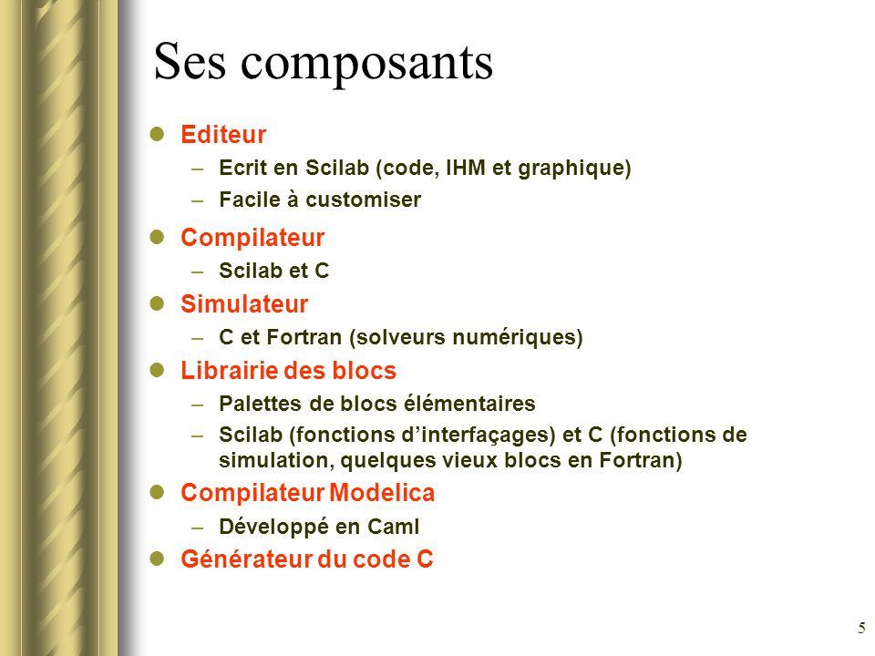 Ses composants Editeur Compilateur Simulateur Librairie des blocs
