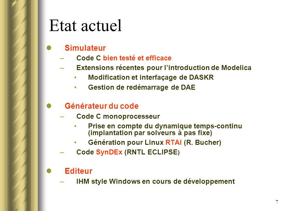 Etat actuel Simulateur Générateur du code Editeur