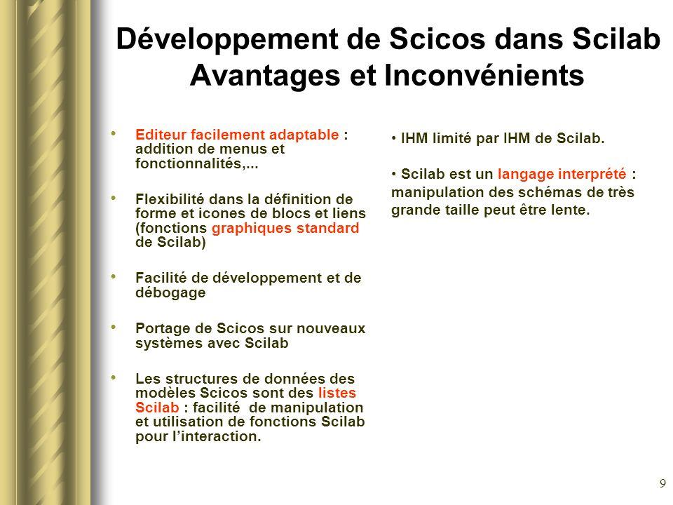 Développement de Scicos dans Scilab Avantages et Inconvénients