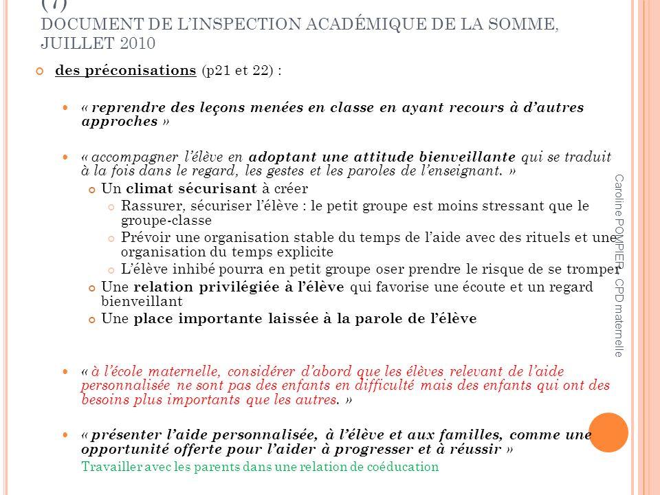 L'AIDE PERSONNALISÉE À L'ÉCOLE PRIMAIRE (7) DOCUMENT DE L'INSPECTION ACADÉMIQUE DE LA SOMME, JUILLET 2010