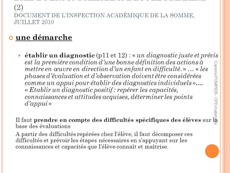 L'AIDE PERSONNALISÉE À L'ÉCOLE PRIMAIRE (2) DOCUMENT DE L'INSPECTION ACADÉMIQUE DE LA SOMME, JUILLET 2010