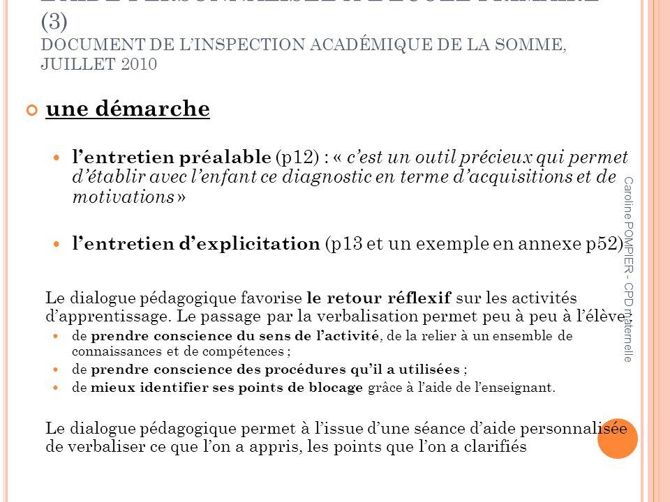 L'AIDE PERSONNALISÉE À L'ÉCOLE PRIMAIRE (3) DOCUMENT DE L'INSPECTION ACADÉMIQUE DE LA SOMME, JUILLET 2010