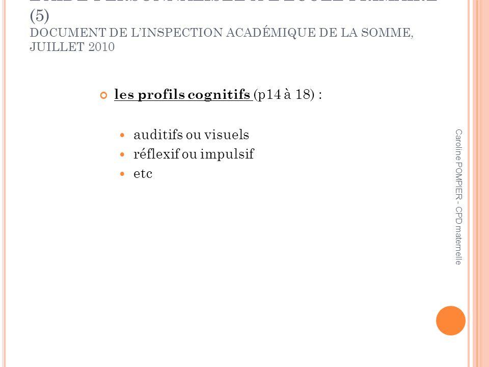 L'AIDE PERSONNALISÉE À L'ÉCOLE PRIMAIRE (5) DOCUMENT DE L'INSPECTION ACADÉMIQUE DE LA SOMME, JUILLET 2010