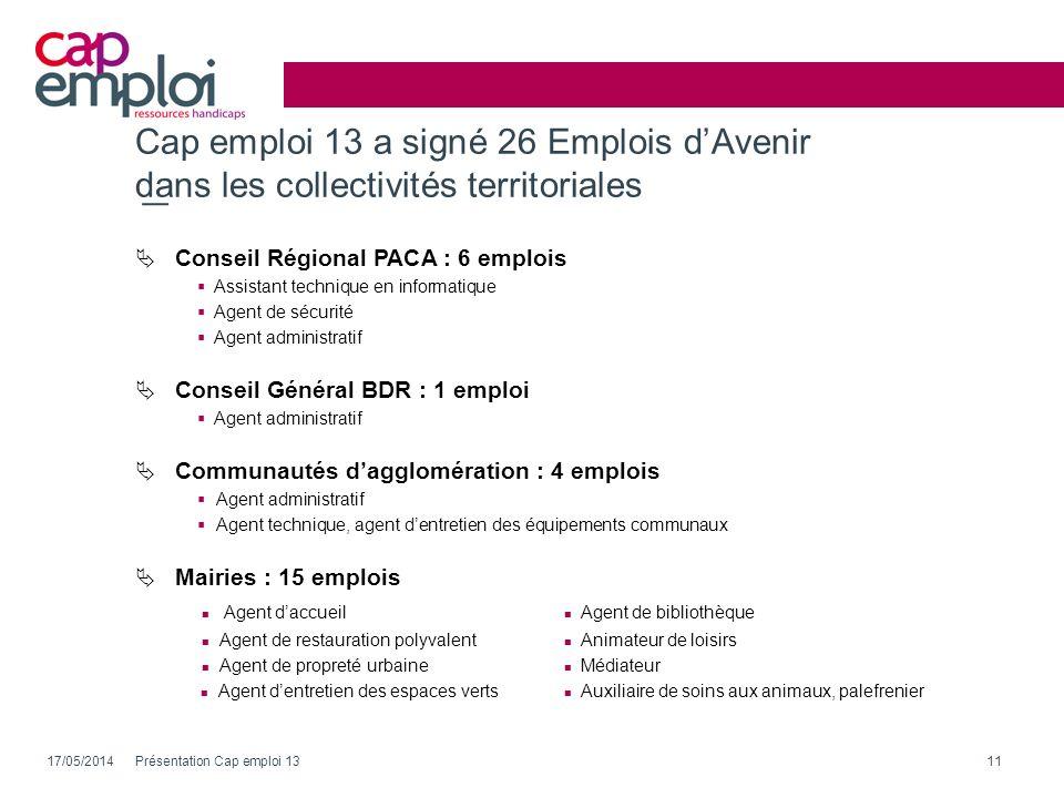 Cap emploi 13 a signé 26 Emplois d'Avenir dans les collectivités territoriales