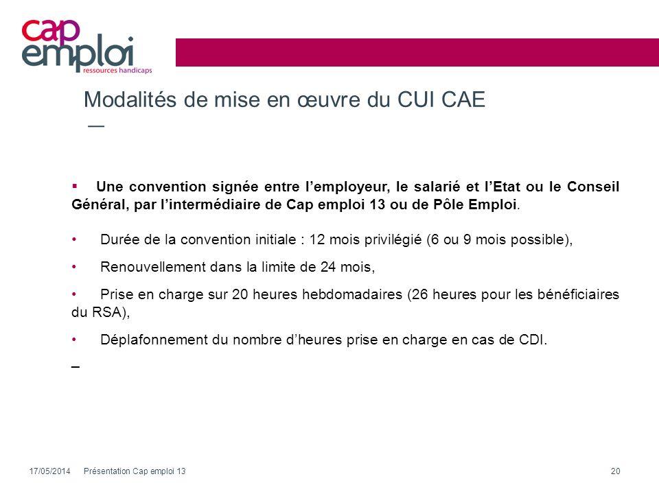Modalités de mise en œuvre du CUI CAE
