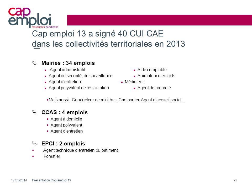 Cap emploi 13 a signé 40 CUI CAE dans les collectivités territoriales en 2013