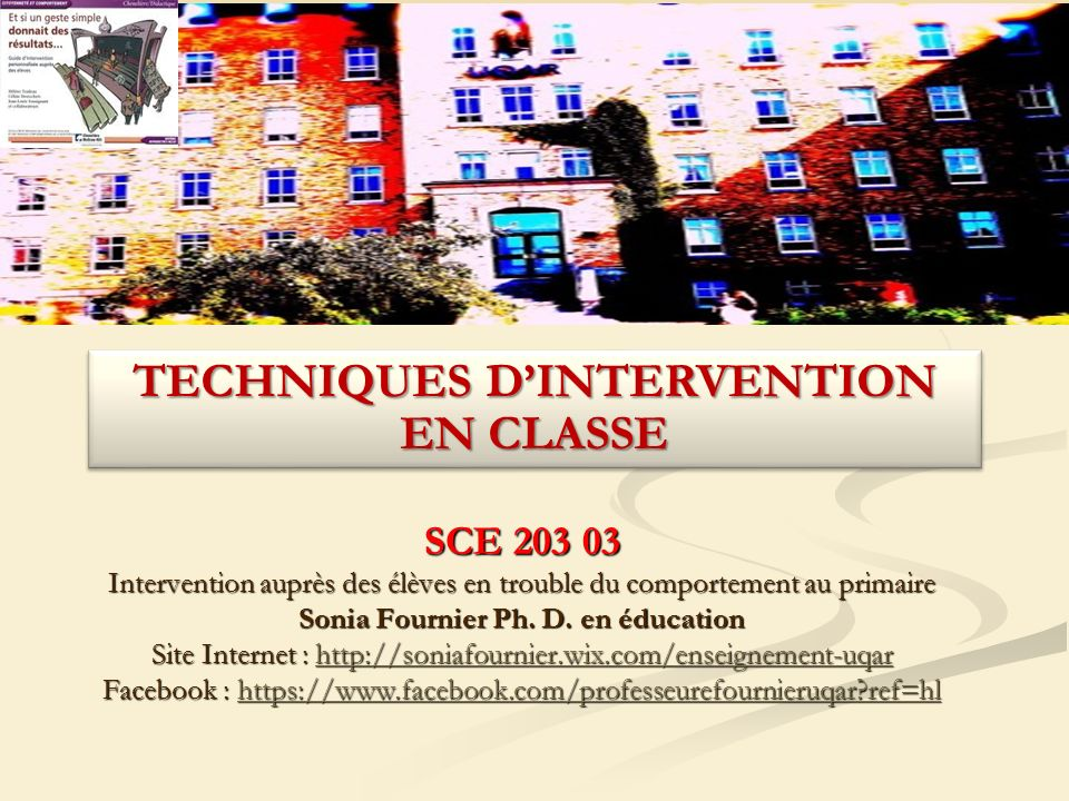 TECHNIQUES D'INTERVENTION EN CLASSE Sonia Fournier Ph. D. en éducation