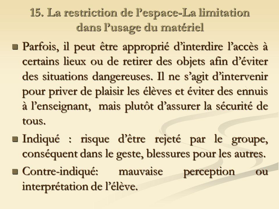 15. La restriction de l'espace-La limitation dans l'usage du matériel