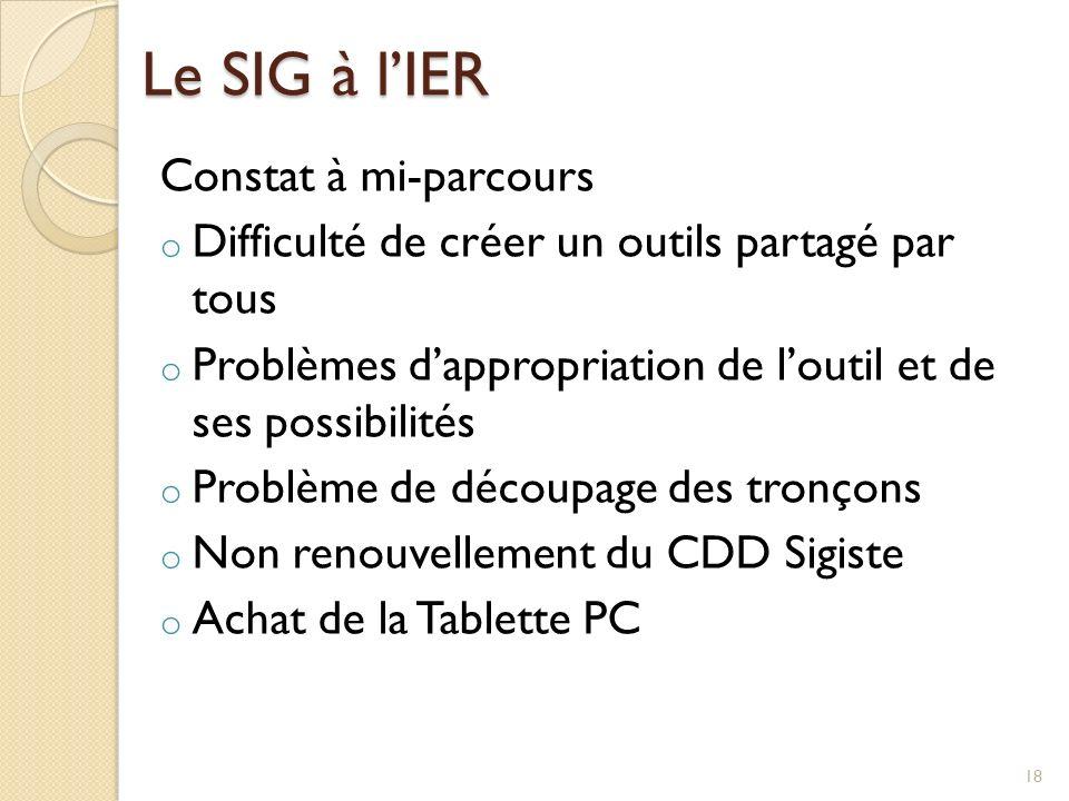 Le SIG à l'IER Constat à mi-parcours