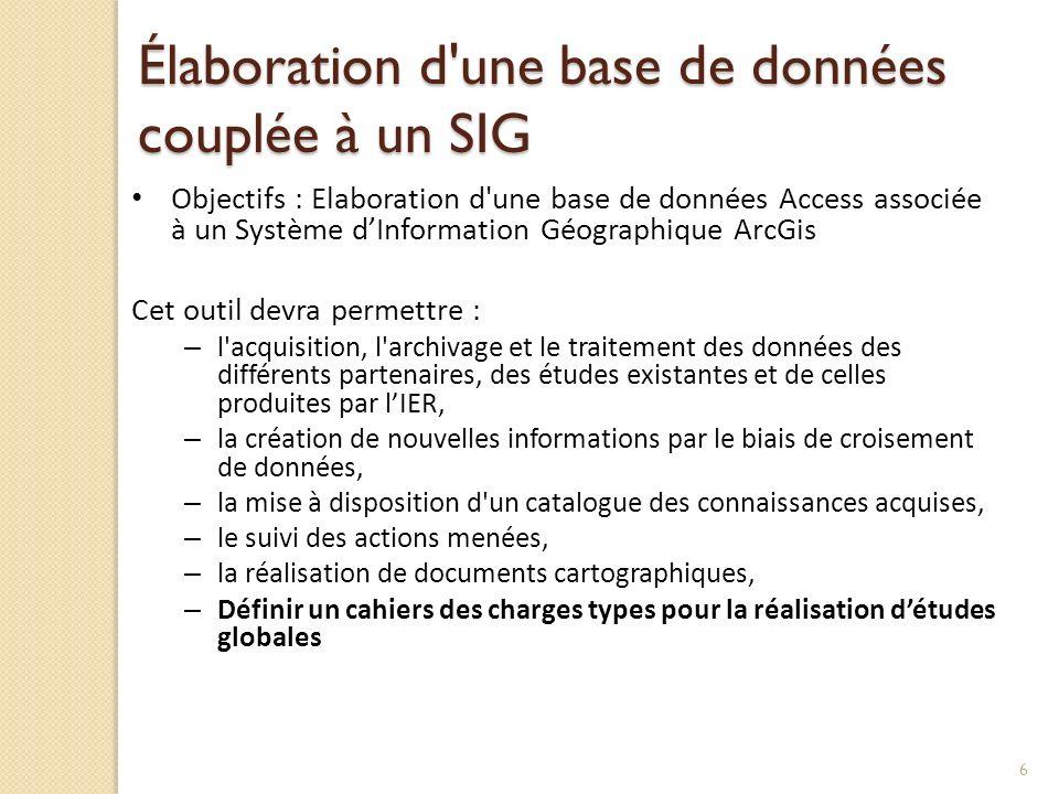 Élaboration d une base de données couplée à un SIG