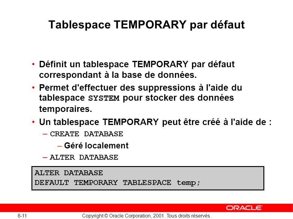 Tablespace TEMPORARY par défaut
