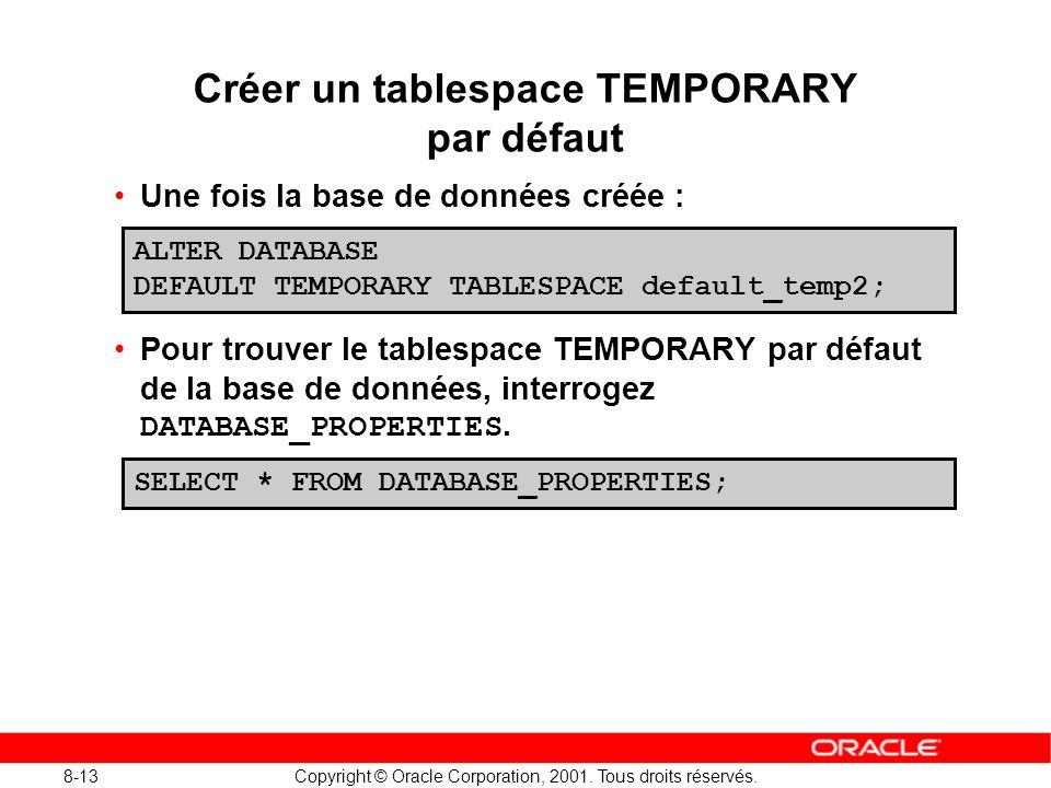 Créer un tablespace TEMPORARY par défaut
