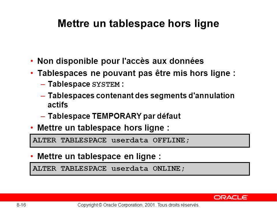 Mettre un tablespace hors ligne