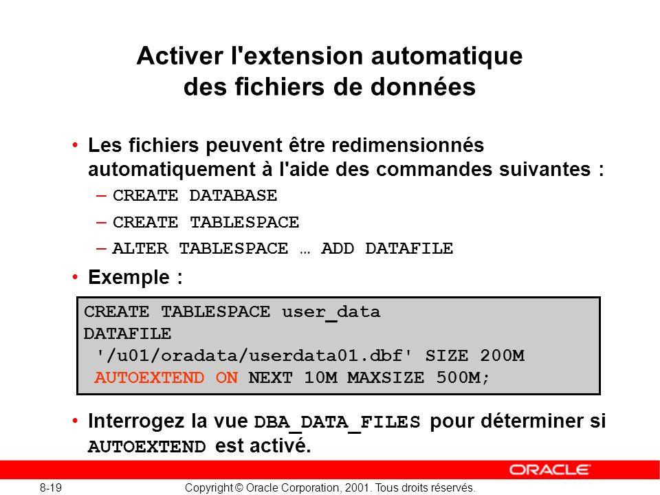 Activer l extension automatique des fichiers de données