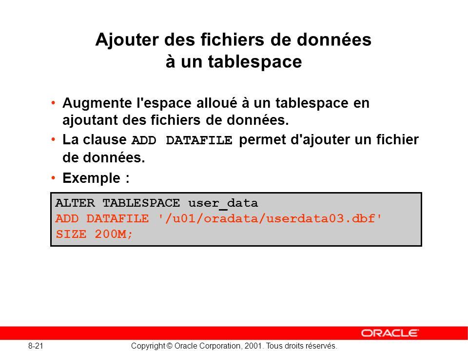 Ajouter des fichiers de données à un tablespace