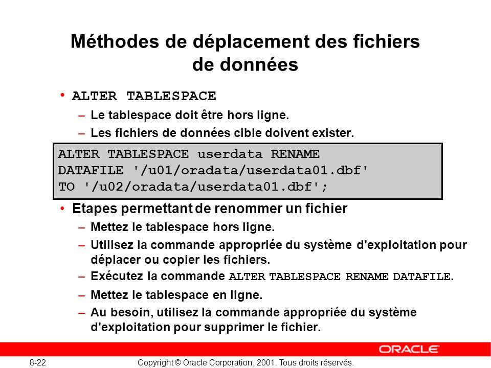 Méthodes de déplacement des fichiers de données