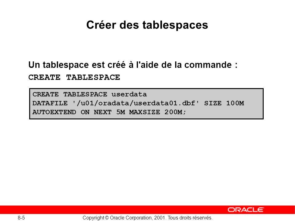 Créer des tablespaces Un tablespace est créé à l aide de la commande :
