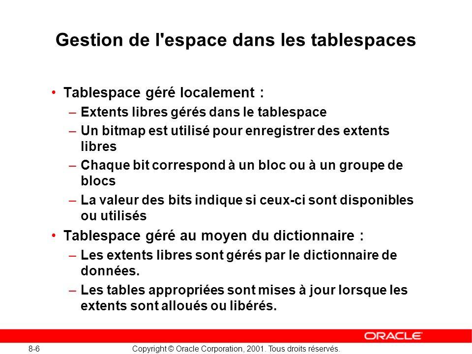 Gestion de l espace dans les tablespaces