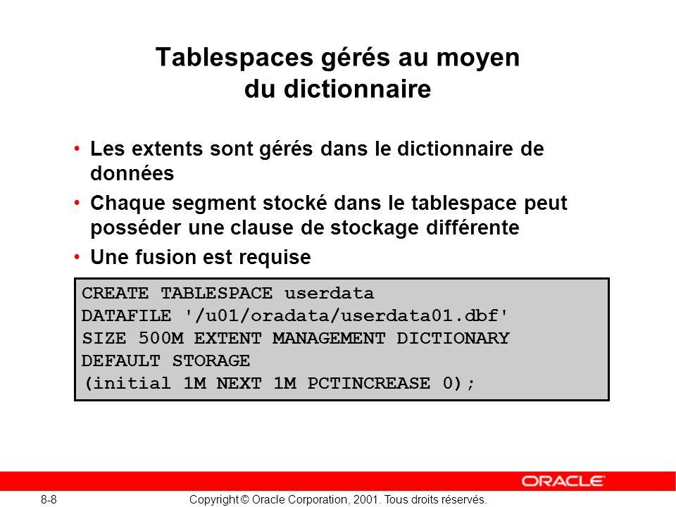 Tablespaces gérés au moyen du dictionnaire