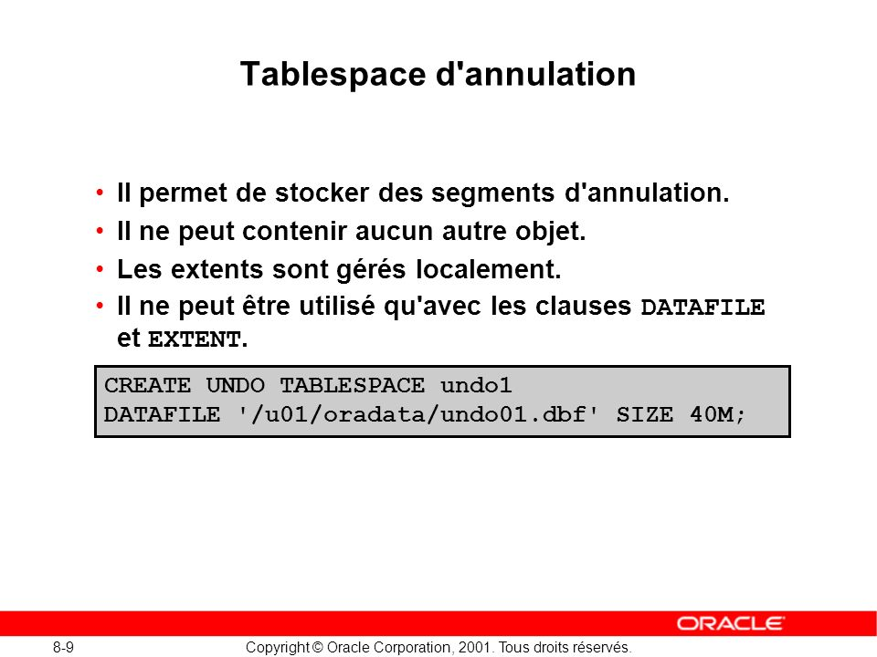 Tablespace d annulation