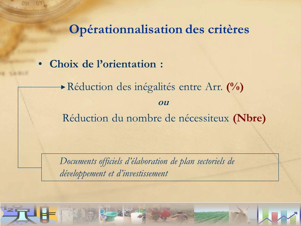 Opérationnalisation des critères