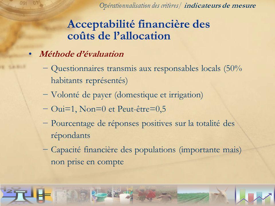 Acceptabilité financière des coûts de l'allocation